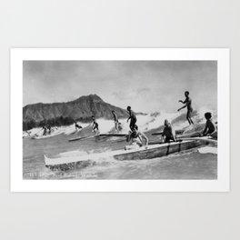 Vintage Surfing Hawaii Art Print