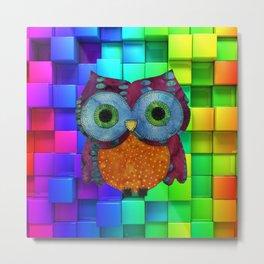 Owl Fabric Metal Print