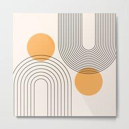 Mid Century Modern Geometric 70 (Rainbow and Sun Abstraction) Metal Print