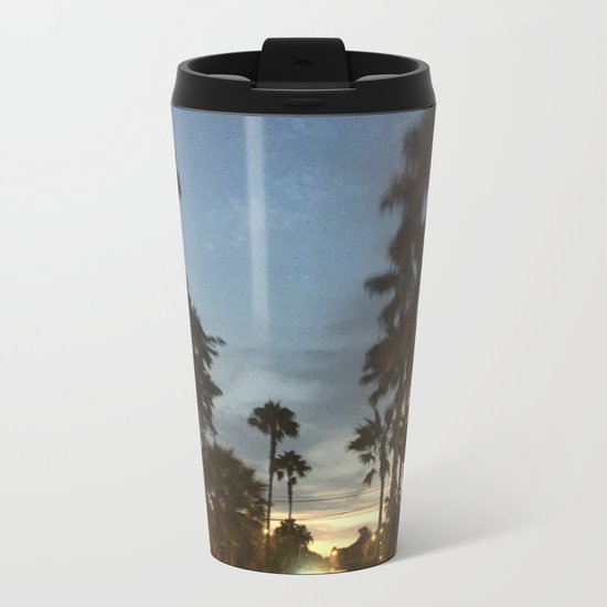 Blurry Palm trees in the street Metal Travel Mug