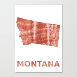 Montana map outline Red-brown colorful wash drawing painting Canvas Print