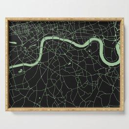 London Black on Green Street Map Serving Tray
