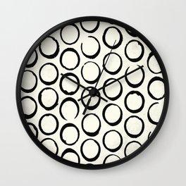 Polka Dots Circles Tribal Black and White Wall Clock