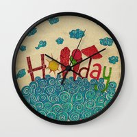 holiday Wall Clocks featuring Holiday by ezgi karaata