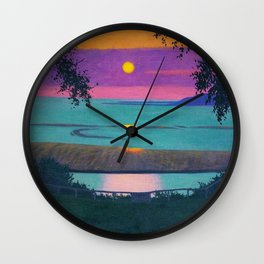 Sunset at Grace, Orange and Violet Sky landscape by Felix Vallotton Wall Clock