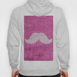 Hipster Funny Mustache On Girly Pink Jute Burlap Hoody