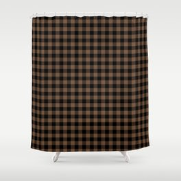 Classic Brown Coffee Country Cottage Summer Buffalo Plaid Shower Curtain