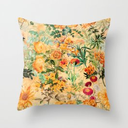 Vintage & Shabby Chic -  Sunny Gold Botanical Flowers Summer Day Throw Pillow