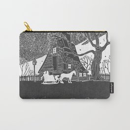 Welcome to Our Home Romantic Snow Scene Chalkboard Carry-All Pouch
