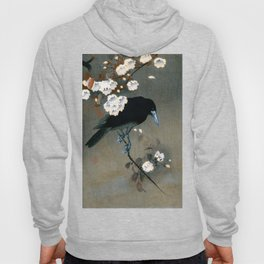 Vintage Japanese Crow and Blossom Woodblock Print Hoody