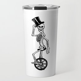 Skeleton Sir on Unicycle Articulated Paper Doll  Travel Mug