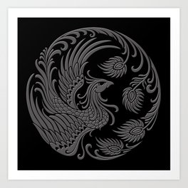 Traditional Gray and Black Chinese Phoenix Circle Art Print