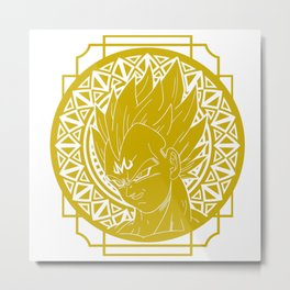 Stained Glass - Dragonball - Majin Vegeta Metal Print