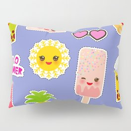 Hello Summer. Pineapple, cherry smoothie cup, ice cream, sun, cat, cake, hamster. Kawaii cute face. Pillow Sham