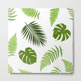 Tropical leaves seamless pattern. Metal Print