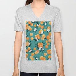 Orange Twist Flower Vibes #8 #tropical #fruit #decor #art #society6 Unisex V-Neck