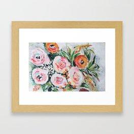Boho pink and orange floral bouquet Framed Art Print