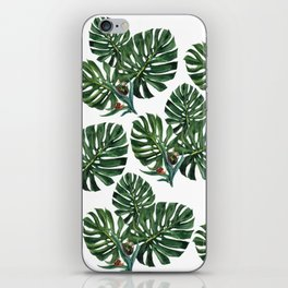Monstera leaf with snails iPhone Skin