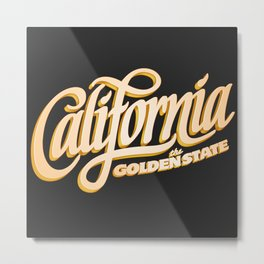 """The Golden State"" T-Shirt Metal Print"
