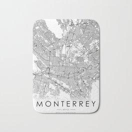 Monterrey City Map Mexico White and Black Bath Mat