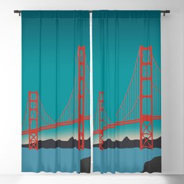 Golden Gate Bridge, San Francisco, California Travel Poster Blackout Curtain