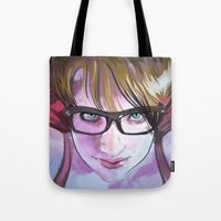 sarah paulson Tote Bags featuring Sarah by Marc Scheff