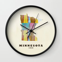 Minnesota state map modern Wall Clock