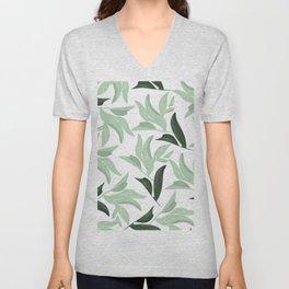 Abstract modern green pastel color leaves floral Unisex V-Neck