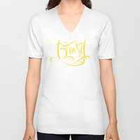 brasil V-neck T-shirts featuring Brasil Lettering Inverted by Roberlan Borges