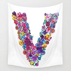 V Letter Floral Wall Tapestry
