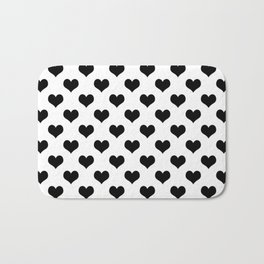 White Black Hearts Minimalist Bath Mat