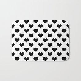 White Black Hearts Minimalist Bath Mat