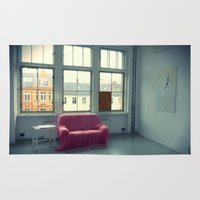 sofa Area & Throw Rugs featuring The Pink Sofa' by Anna Andretta