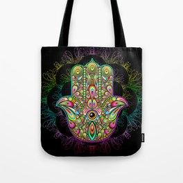 Hamsa Hand Amulet Psychedelic Tote Bag