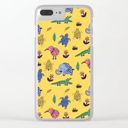 Cute Wild Animals Pattern Clear iPhone Case