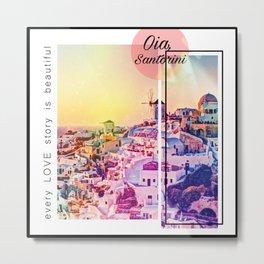 Santorini Love Story Metal Print