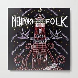 Newport Folk Festival Red Motif, 1959 Vintage Advertisement Gig Poster, Newport, Rhode Island Metal Print