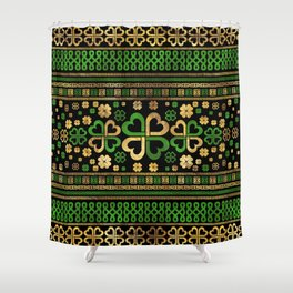 Lucky Shamrock Four-leaf Clover Green and Gold Shower Curtain