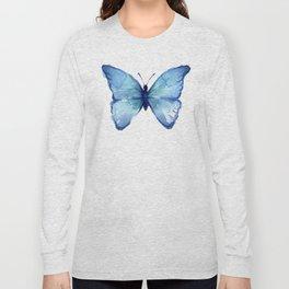 Blue Butterfly Watercolor Long Sleeve T-shirt