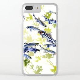 Fish Blue Gray zebrafish, Danio aquarium Aquatic design underwater scene Clear iPhone Case