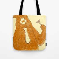 the office Tote Bags featuring Office Bear by Tobe Fonseca
