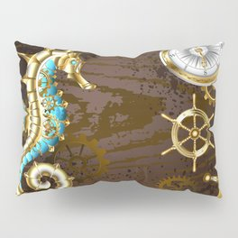 Wooden Background with Mechanical Seahorse ( Steampunk ) Pillow Sham