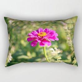 Showy Pink Zinnia Rectangular Pillow