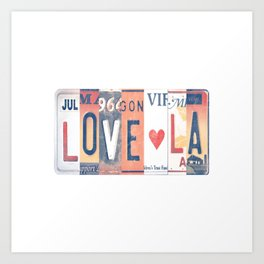 LOVE LA License Plate Art Art Print