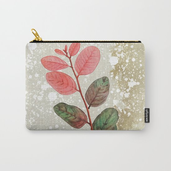Vintage Pink Leaf Carry-All Pouch