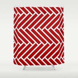 Classic red and white herringbone pattern Shower Curtain