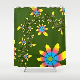 Green Floral Dance Shower Curtain