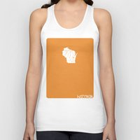 wisconsin Tank Tops featuring Wisconsin Minimalist Vintage Map by Finlay McNevin