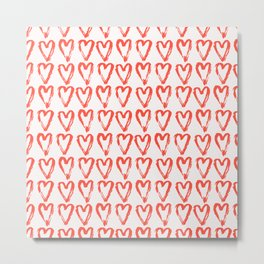 Heart Pattern Living Coral - hand painted Metal Print