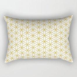 Flower of Life Pattern – Gold & White Rectangular Pillow